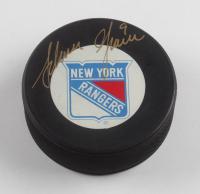 Adam Graves Signed Rangers Logo Hockey Puck (JSA COA) at PristineAuction.com