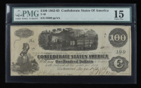 1862 $100 One-Hundred Dollar Confederate States of America Richmond CSA Bank Note (PMG 15) at PristineAuction.com