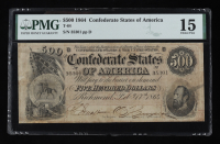 1864 $500 Five-Hundred Dollars Confederate States of America Richmond CSA Bank Note (PMG 15) at PristineAuction.com