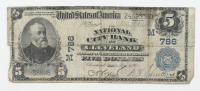 1902 $5 Five-Dollars U.S. National Currency Large-Size Bank Note - The National City Bank of Cleveland, Ohio at PristineAuction.com