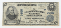 1902 $5 Five-Dollars U.S. National Currency Large-Size Bank Note - The Bank of California, National Association in San Francisco, California at PristineAuction.com