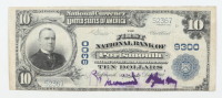 1902 $10 Ten-Dollars U.S. National Currency Large-Size Bank Note - The First National Bank of Portsmouth, Virginia at PristineAuction.com