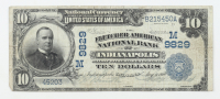 1902 $10 Ten-Dollars U.S. National Currency Large-Size Bank Note - The Fletcher American National Bank of Indianapolis, Indiana at PristineAuction.com