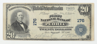 1902 $20 Twenty-Dollars U.S. National Currency Large-Size Bank Note - The First National Bank of Peoria, Illinois at PristineAuction.com