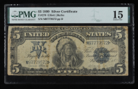 """1899 $5 Five-Dollars """"Indian Chief"""" U.S. Silver Certificate Large-Size Bank Note (PMG 15) at PristineAuction.com"""