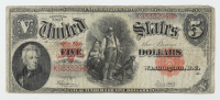 1907 $5 Five-Dollars Red Seal U.S. Legal Tender Large-Size Bank Note at PristineAuction.com