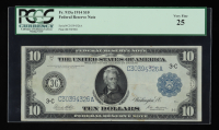 1914 $10 Ten-Dollars Blue Seal U.S. Large-Size Federal Reserve Note (PCGS 25) at PristineAuction.com