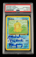 """Michael Haigney Signed 2000 Pokemon Team Rocket Unlimited #65 Psyduck Inscribed """"Psyduck"""" (PSA Encapsulated) at PristineAuction.com"""