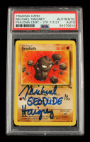 """Michael Haigney Signed 1999 Pokemon Fossil Unlimited #47 Geodude Inscribed """"Geodude"""" (PSA Encapsulated) at PristineAuction.com"""