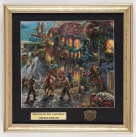 "Thomas Kinkade ""Pirates of the Caribbean"" 16x16 Custom Framed Print Display with Bronze Emblem at PristineAuction.com"