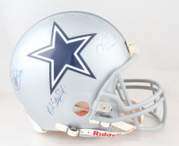 "Cowboys 1990's Team Stars Full-Size Authentic On-Field Helmet Team-Signed by (5) With Troy Aikman, Michael Irvin, Jay Novacek, Mark Stepnoski Inscribed ""SB XXVII MVP"" (JSA LOA) at PristineAuction.com"