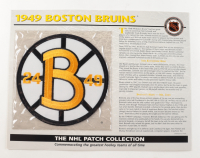Official 1949 Bruins Patch Card with 9x12 Scorecard at PristineAuction.com
