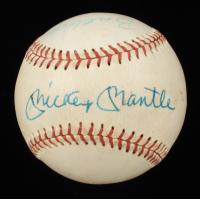 """Mickey Mantle & Hank Aaron Signed ONL Baseball Inscribed """"Best Wishes"""" (JSA LOA) (See Description) at PristineAuction.com"""