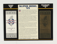 1986 Commemorative Super Bowl XX Card with Ticket: Bears vs Patriots at PristineAuction.com