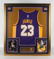LeBron James 33x37 Custom Framed Jersey Display With Lakers 17x NBA Champions Pin at PristineAuction.com
