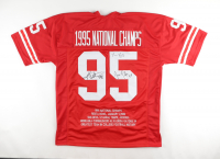 Tommy Frazier, Grant Wistrom & Jason Peter Signed Career Highlight Stat Jersey (JSA COA) at PristineAuction.com
