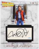 """Michael J. Fox Signed """"Back to the Future"""" 2.5x5.5 Cut Display (ACOA Hologram) at PristineAuction.com"""