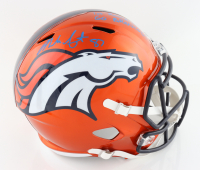 "Noah Fant Signed Broncos Full-Size Flash Alternate Speed Helmet Inscribed ""1st Round Pick, Go Broncos!"" (Beckett Hologram) (See Description) at PristineAuction.com"