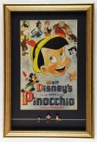 "Walt Disney's ""Pinocchio"" 17x25 Custom Framed Display with (3) 1960's ""Disneykins"" figurines at PristineAuction.com"