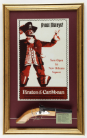 Disneyland's Pirates of the Caribbean 17x27 Custom Framed Print Display with Souvenir Pirate Pistol & Admission Ticket at PristineAuction.com