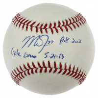 """Mike Trout Signed OML Baseball Inscribed """"Cycle Game 5-21-13"""" & """"ROY 2012"""" (MLB Hologram) at PristineAuction.com"""