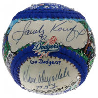 Sandy Koufax & Don Drysdale Signed Dodgers Baseball Hand-Painted by Charles Fazzino (JSA LOA & PSA LOA) at PristineAuction.com
