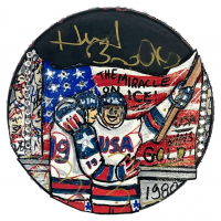 Herb Brooks signed 1980 USA Olympic Hockey Puck Hand-Painted by Charles Fazzino (JSA LOA) at PristineAuction.com