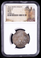Henry II 1551-C Saint-Lo, France Douzain Medieval Silver Coin (NGC AU55) at PristineAuction.com