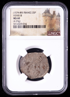 Henry III (1574-1589) France Double Sol Medieval Silver Coin (NGC MS60) at PristineAuction.com