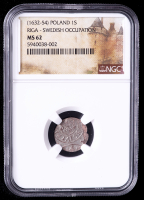 Christina Queen of Sweden (1632-54) Riga, Poland - Swedish Occupation Billon Solidus Medieval Coin (NGC MS62) at PristineAuction.com
