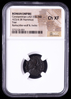 Constantinian (c. AD 330-340) Roman Empire AE3/4 BI Nummus Ancient Coin - Urbs Roma / She Wolf & Twins (NGC Ch XF) at PristineAuction.com