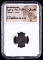 Constantine II as Caesar (AD 337-340) Roman Empire Æ3/4 BI Nummus Ancient Coin (NGC Ch AU) at PristineAuction.com