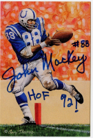 "John Mackey Signed LE Goal Line Art Postcard #63 Inscribed ""HOF 92"" (PSA COA) at PristineAuction.com"