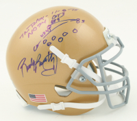 """Rudy Ruettiger Signed Notre Dame Fighting Irish Mini Helmet Inscribed """"The Play"""" & """"11-8-75, ND 24, GT 3"""" with Hand-Drawn Diagram (Beckett COA & Ruettiger Hologram) at PristineAuction.com"""
