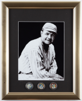 Babe Ruth Yankees 13x16 Custom Framed Photo Display with (3) Commemorative Coins at PristineAuction.com
