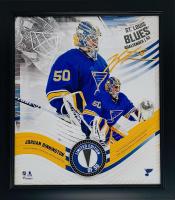 Jordan Binnington Blues LE 15x17 Custom Framed Game-Used Hockey Puck Piece Display (Fanatics Hologram) at PristineAuction.com