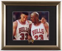 Michael Jordan & Scottie Pippen Bulls 13x16 Custom Framed Photo Display with 1996 NBA Finals Pin at PristineAuction.com