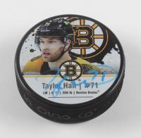 Taylor Hall Signed Bruins Logo Photo Hockey Puck (Hall COA) at PristineAuction.com