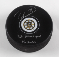 """Taylor Hall Signed Bruins Logo Hockey Puck Inscribed """"1st Bruins Goal 4-15-21"""" (Hall COA) at PristineAuction.com"""