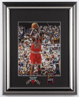 """Michael Jordan Bulls """"The Final Shot"""" 13x16 Custom Framed Photo Display With Chicago Bulls Finals Champion Pin & Patch at PristineAuction.com"""