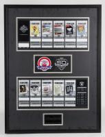 Raiders 50th Anniversary Season LE 25x30 Custom Framed Ticket Display at PristineAuction.com