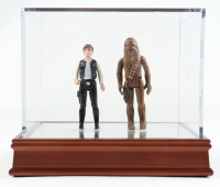 """Set of (2) 1977 """"Star Wars"""" Han Solo & Chewbacca Original Figures with Display Case at PristineAuction.com"""