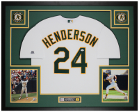 Rickey Henderson Signed 35x43 Custom Framed Jersey (JSA COA) at PristineAuction.com