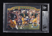 Joe Montana Signed LE 1993-97 Upper Deck Authenticated Commemorative Cards #4 1995/Notre Dame Tradition (BGS Encapsulated & Montana Hologram) at PristineAuction.com