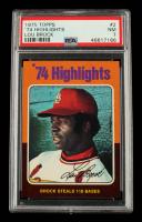 Lou Brock 1975 Topps 118 Stolen Bases #2 (PSA 7) at PristineAuction.com