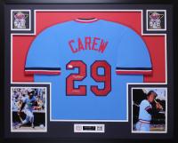"""Rod Carew Signed 35x43 Custom Framed Jersey Inscribed """"HOF 91"""" (JSA COA) at PristineAuction.com"""