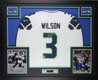 Russell Wilson Signed 35x43 Custom Framed Jersey (Wilson Hologram) at PristineAuction.com