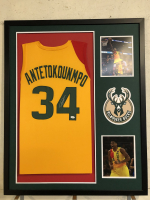 Giannis Antetokounmpo Signed 34x42 Custom Framed Jersey Display (JSA COA) at PristineAuction.com