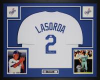 Tommy Lasorda Signed 35x43 Custom Framed Jersey (JSA COA) at PristineAuction.com