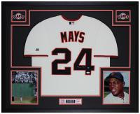 Willie Mays Signed 35x43 Custom Framed Jersey (JSA COA) at PristineAuction.com